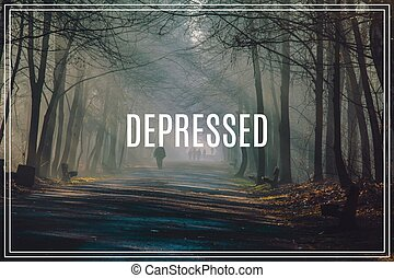 слово, depressed., sunbeams, forest., туман, сильный, дорога