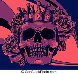 смерть, иллюстрация, корона, человек, roses, череп, вектор