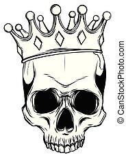 смерть, череп, корона, иллюстрация, roses, вектор, человек