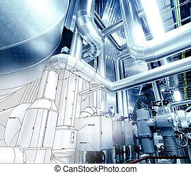 смешанный, промышленные, оборудование, эскиз, дизайн, трубопровод, фото