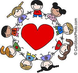 смешанный, этнической, люблю, children, счастливый