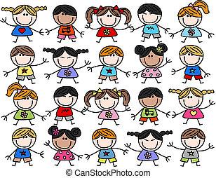 смешанный, kids, children, этнической, счастливый