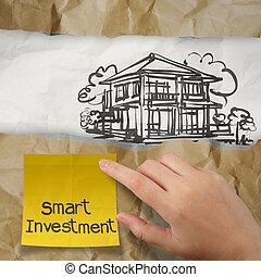 сморщенный, держа, бумага, рука, умная, дом, липкий, инвестиции, заметка, концепция