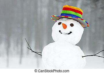 снеговик, веселая, зима