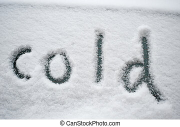 "снег, ""cold"", написано"