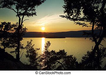 снижение, озеро, против, пейзаж, ночь, байкал