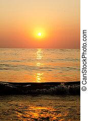 снижение, средиземное море, солнечный, море