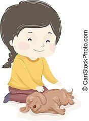 собака, reiki, девушка, массаж, дитя, иллюстрация, животное
