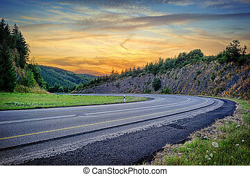 соблазнительная, закат солнца, дорога, пейзаж