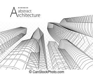 современное, архитектура, иллюстрация, городской, 3d, здание, design.