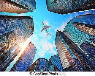 современное, бизнес, район, skyscrapers