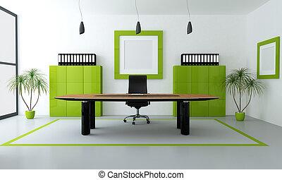 современное, зеленый, офис