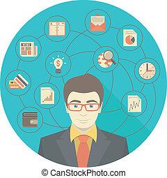 современное, концепция, бизнесмен