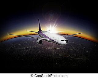 современное, пассажирский самолет, реактивный самолет