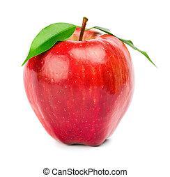 созревший, красный, яблоко