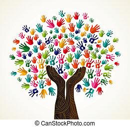 солидарность, красочный, дерево, дизайн