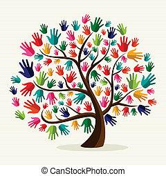 солидарность, рука, красочный, дерево