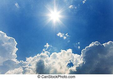 солнечно, небо, задний план