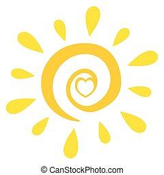 солнце, абстрактные, сердце