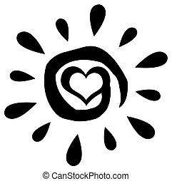солнце, абстрактные, черный, сердце