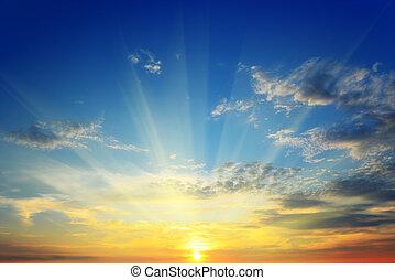 солнце, выше, горизонт