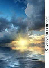 солнце, драматичный, rays, небо, закат солнца