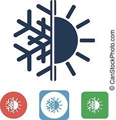 солнце, концепция, баланс, другой, снежинка
