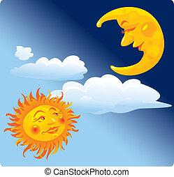 солнце, луна
