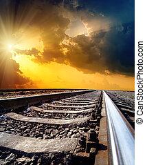 солнце, небо, драматичный, горизонт, под, железнодорожный