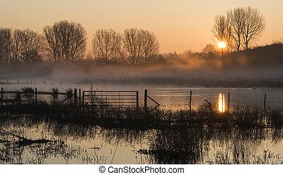 солнце, озеро, восход, туман, пейзаж, свечение