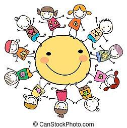 солнце, счастливый, kids, вокруг, playing