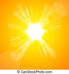солнце, яркий, желтый