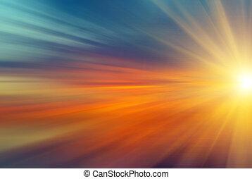 солнце, rays, закат солнца