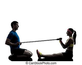 сопротивление, exercising, группа, тренер, человек, женщина, фитнес, ластик
