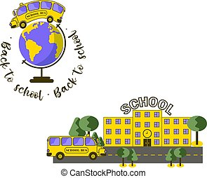 состав, задний план, автобус, декорации, земной шар, школа, желтый, типография, здание, прозрачный, isolated