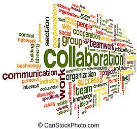 сотрудничество, концепция, слово, облако, тег