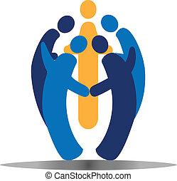 социальное, логотип, вектор, командная работа, люди