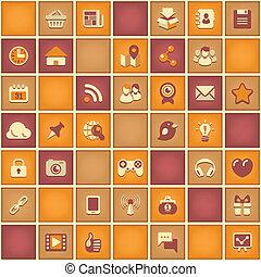 социальное, шаблон, квадрат, сетей