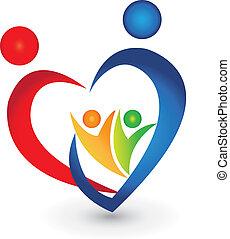 союз, сердце, форма, семья, логотип