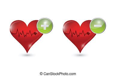 спасательный трос, hearts, над, дизайн, иллюстрация