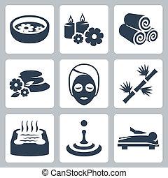 спа, вектор, задавать, isolated, icons