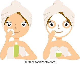 спа, женщина, маска, лечение, лицевой, изготовление, главная, процедура