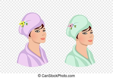 спа, женщина, чалма, ванна, глава, подать заявление, процедура