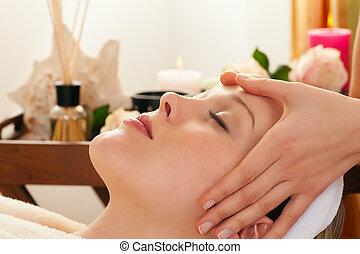 спа, массаж, задний план, лицо