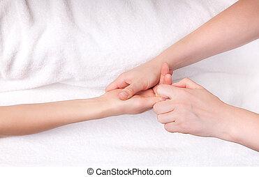 спа, терапевт, палец, массаж