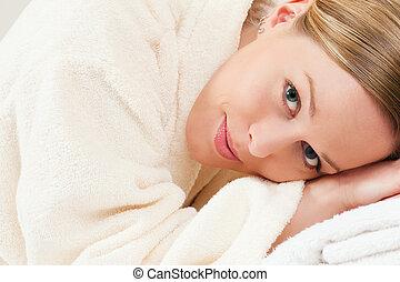 спа, халат, женщина, ванна