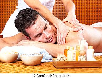 спа, человек, молодой, массаж, salon.