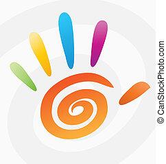 спираль, абстрактные, вектор, цветной, рука
