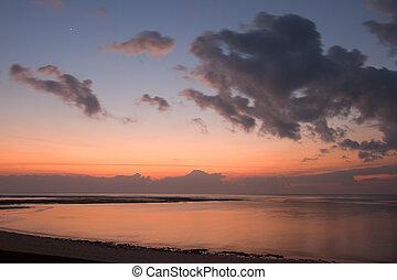 спокойный, восход, океан
