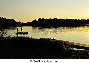 спокойный, озеро, отражение